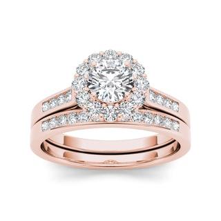 De Couer 14k Rose Gold 1ct TDW Diamond Engagement Ring (H-I, I2) with Bonus Necklace