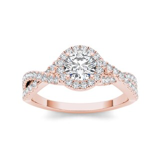 De Couer 14k Rose Gold 1 1/10ct TDW Diamond Braided Vintage Engagement Ring (H-I, I2)