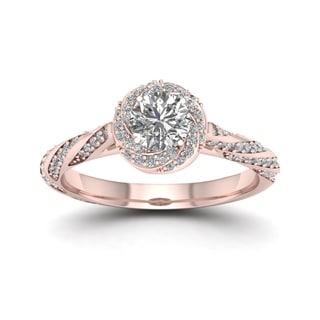 De Couer 14k Rose Gold 1ct TDW Diamond Vintage Swirl Engagement Ring (H-I, I2) with Bonus Necklace