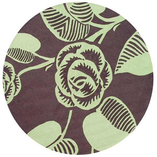 Green Rose Deco Area Rug (8' Round)