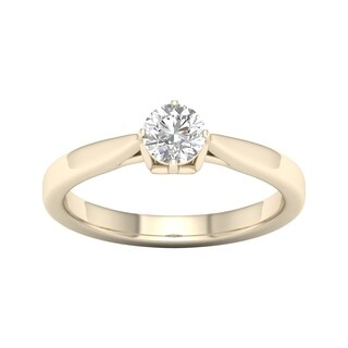 De Couer 14k Yellow Gold 1/2ct TDW Round-cut Solitaire Diamond Ring (H-I, I1-I2)