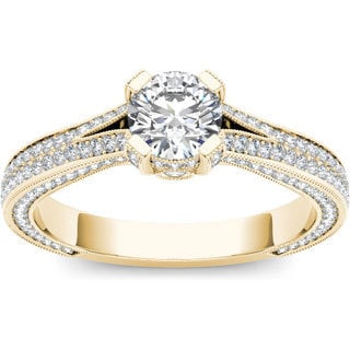 De Couer 14k Yellow Gold 1 1/2ct TDW Diamond Pave Band Ring (H-I, I2)