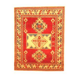 Herat Oriental Afghan Hand-knotted Tribal Kazak Red/ Beige Wool Rug (4'11 x 3'10)