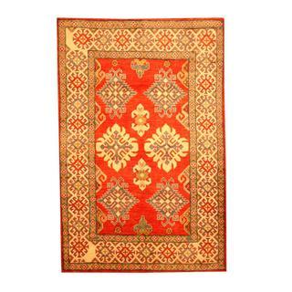Herat Oriental Afghan Hand-knotted Tribal Kazak Red/ Beige Wool Rug (4'3 x 6'6)