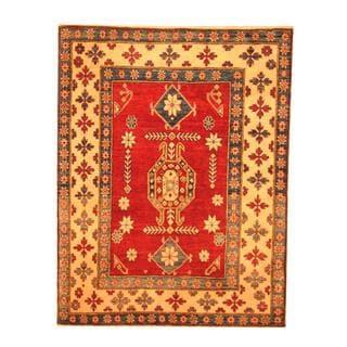 Herat Oriental Afghan Hand-knotted Tribal Kazak Red/ Beige Wool Rug (3'10 x 4'11)