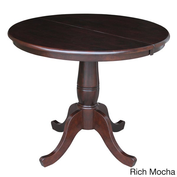 round 36 inch pedestal table with 12 inch leaf 16585235 overstock