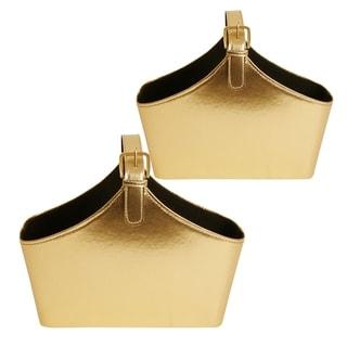 Golden Leatherette Decorative Standing Bag (Set of 2)