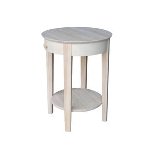 Unfinished Solid Parawood Rectangular Single-drawer Hall Table