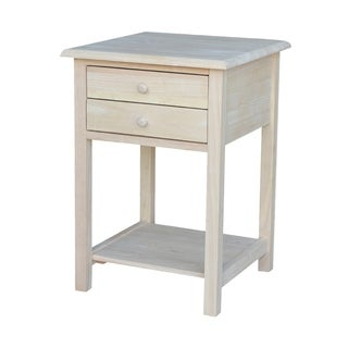 Square Solid Parawood Unfinished 2-drawer Lamp Table