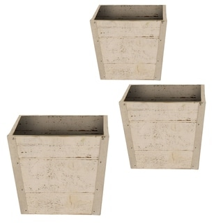 Whitewashed Wood Pot Cover (Set of 3)
