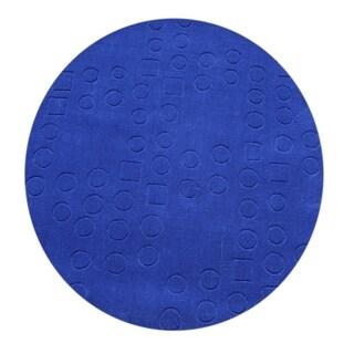 Alliyah Hand-loomed Blue New Zealand Wool Rug (6' Round)