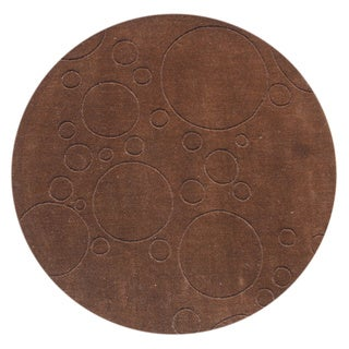 Alliyah Hand-loomed Brown New Zealand Wool Rug (4' Round)