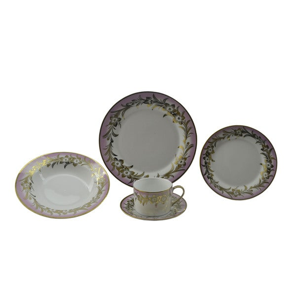 Pink and Goldtone Floral Patterned 40-piece Dinnerware Set 13882477