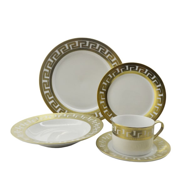 Golden Rim Designer-inspired 40-piece Dinnerware Set