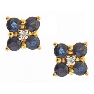 D'yach 14k Yellow Gold Blue Sapphire and Diamond Accent Stud Earrings