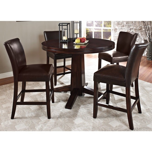 pendleton 5 piece counter table dining set in dark cherry collections