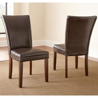 Hampton Brown Bonded Leather Dining Chair with Memory Foam Seat (Set of 2)