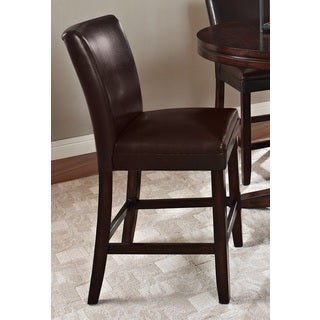 Hampton Brown Bonded Leather Counter-height Dining Chair with Memory Foam Seat (Set of 2)