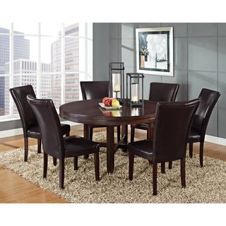 Hampton Dark Brown Cherry and Bonded Leather Dining Set