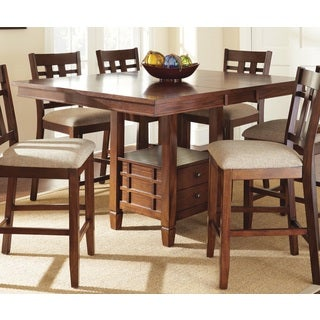 Blake Medium Oak Counter-height Dining Table with Self Storing Butterfly Leaf