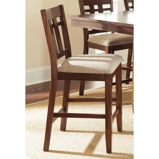 Blake Medium Oak and Beige Counter-height Dining Chair (Set of 2)