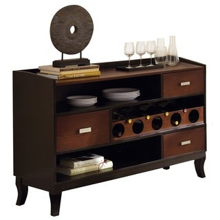 Olivia Two-tone Medium Cherry/ Black Server with Wine Storage