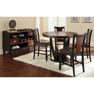 Olivia Two-tone Cherry and Black Counter-height Dining Set