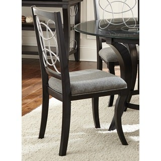Calypso Black/ Charcoal Grey Upholstered Side Chairs (Set of 4)