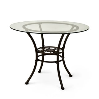 Browning Glass-top and Brown Powder-coated Metal Dining Table