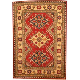 Herat Oriental Afghan Hand-knotted Kazak Rust/ Beige Wool Rug (3'3 x 4'10)
