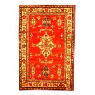 Herat Oriental Afghan Hand-knotted Tribal Kazak Red/ Beige Wool Rug (3'6 x 5'4)