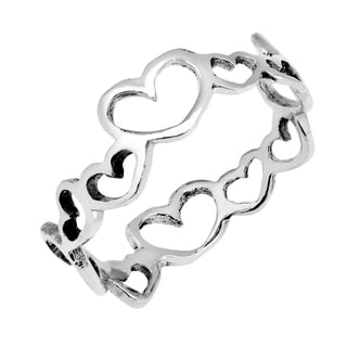 Love Unity Heart Link .925 Sterling Silver Ring (Thailand)
