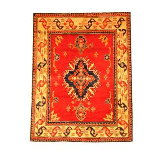 Herat Oriental Afghan Hand-knotted Tribal Kazak Red/ Beige Wool Rug (3'7 x 4'7)