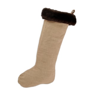 Circa Solid Barley with Taline Fur Band Christmas Stocking