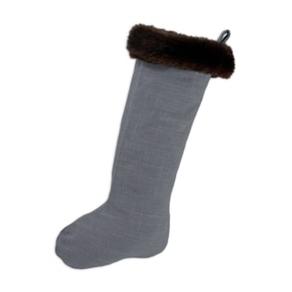 Circa Solid Charcoal with Taline Fur Band Christmas Stocking