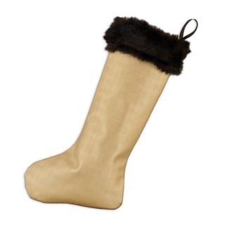 Shimmer Gold with Taline Fur Trim Christmas Stocking