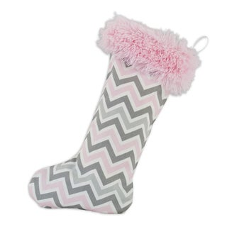 Zoom Zoom Bella with Shaggy Pink Band Christmas Stocking