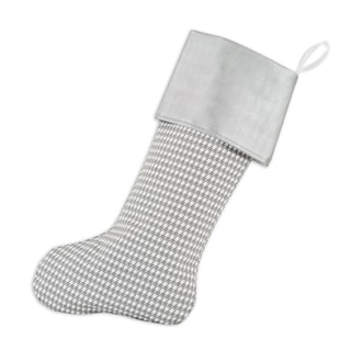 Houndstooth Storm with Shimmer Silver Band Lined Trimmed Stocking