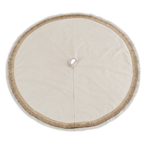 River Rock 53-inch Round Ivory Fringe Suede Tree Skirt