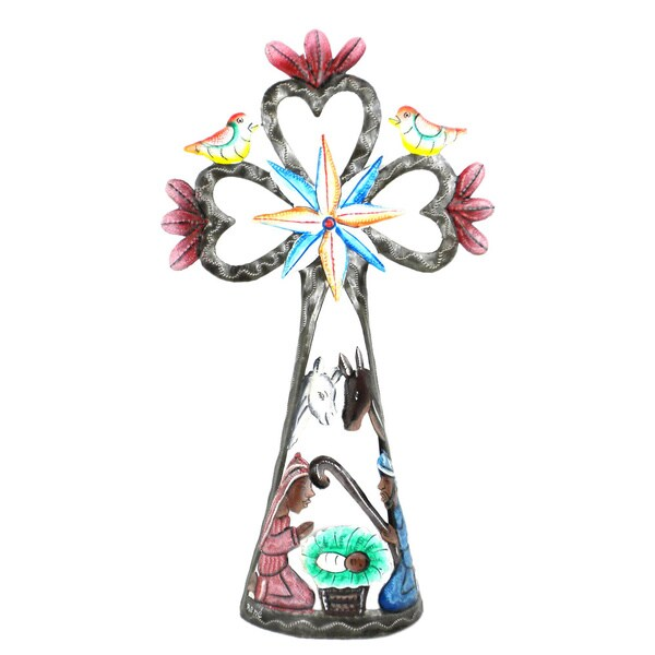 Hand Painted Standing Cross Nativity (Haiti)
