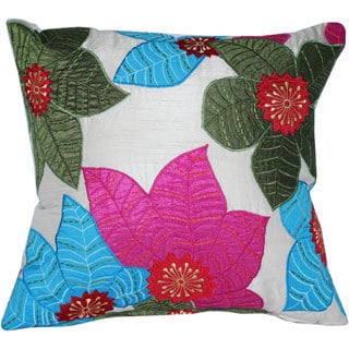 Decorative Leaf Multicolor Embroidered Throw Pillow Cover
