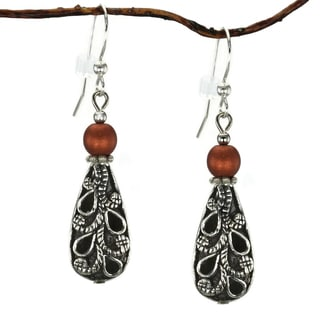 Jewelry by Dawn Antiqued Puffed Teardrop and Copper Dangle Earrings
