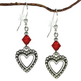 Jewelry by Dawn Pewter Open Heart Red Crystal Dangle Earrings