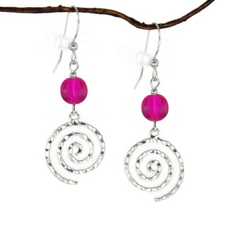 Jewelry by Dawn Sterling Silver Hot Pink Hammered Swirl Dangle Earrings
