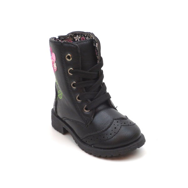 Blue Children's Flower Lace-up Military Boots