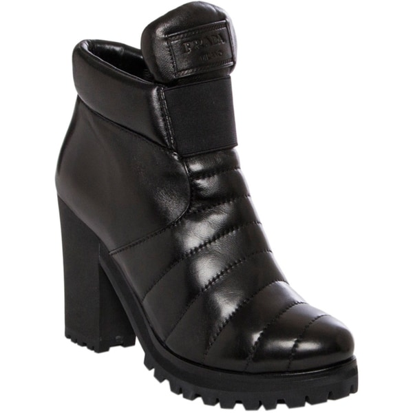Prada Women's Black Stitched Top Leather Ankle Boots
