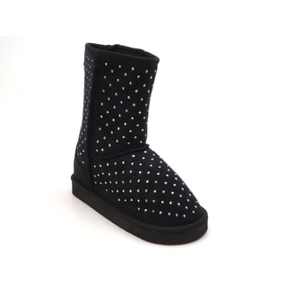 Blue Children's 'Ugena' Rhinestone Dots Black Suede Boots