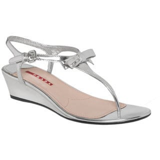 Prada Women's Silver Leather T-strap Bow Sandals