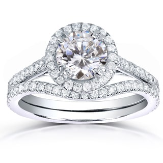 Annello 14k White Gold 1 1/2ct TDW Round-cut Halo Diamond Bridal Rings Set (H-I, I1-I2)