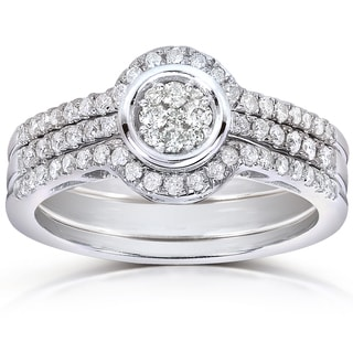 Annello 10k White Gold 1/2ct TDW Round-cut Diamond 3-piece Bridal Ring Set (H-I, I1-I2)